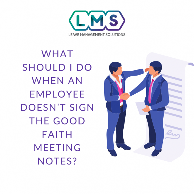 what should I do when employee doesn't sign the meeting notes
